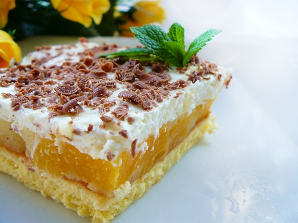 brzoskwiniowiec , ciasto z brzoskwiniami 77x