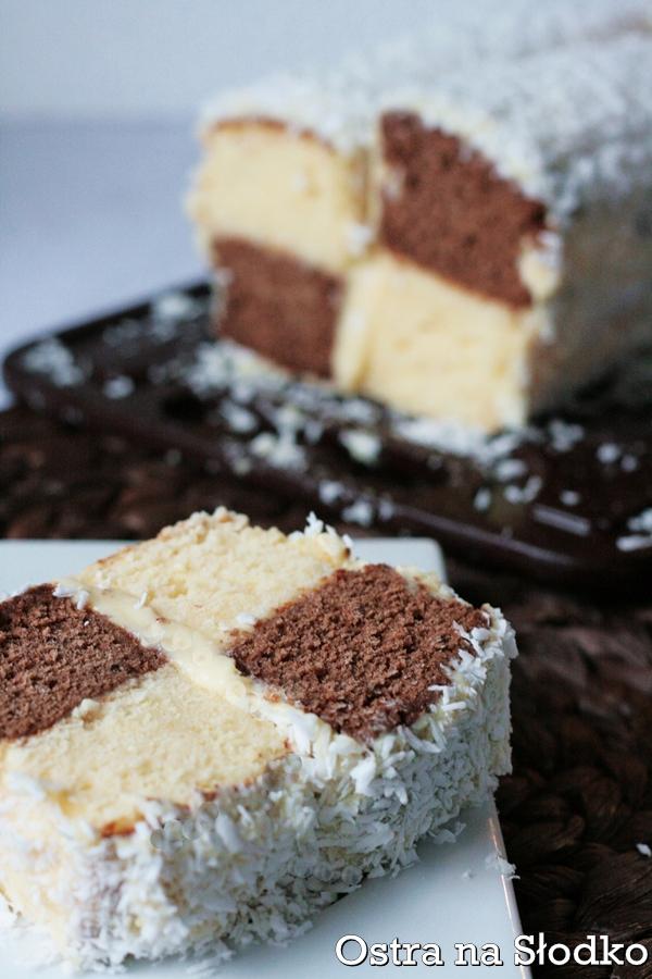 ciasto szachownica , szachownica kokosowa , ciasto przekladane , metrowiec , stefanka , ostra na slodko