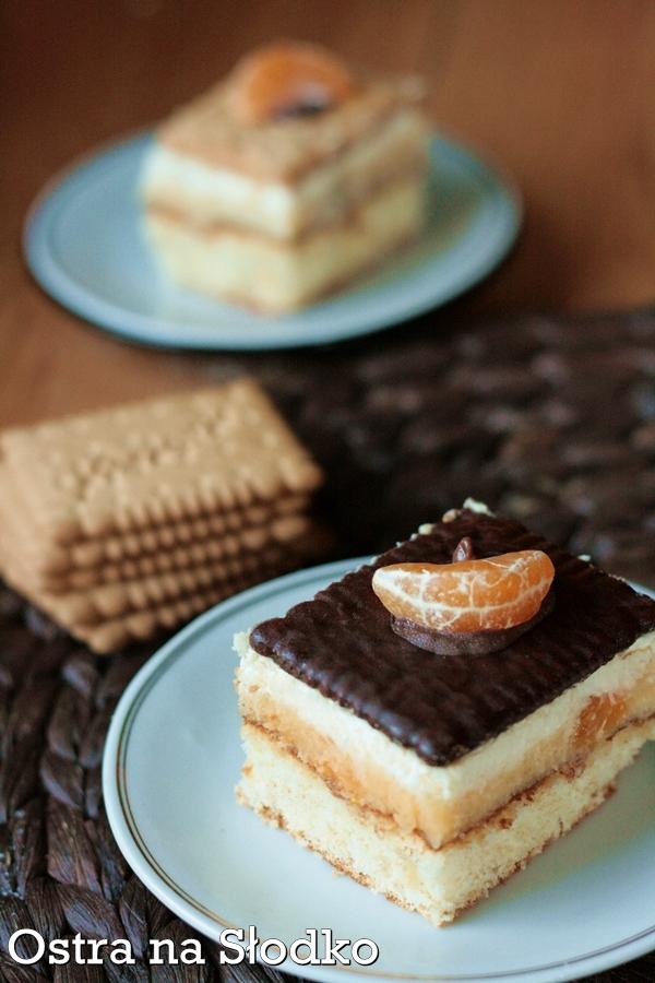 szachownica mandarynkowa , ciasto szachownica , ciasto mandarynkowe , ciasto z herbatnikami , ostra na slodko