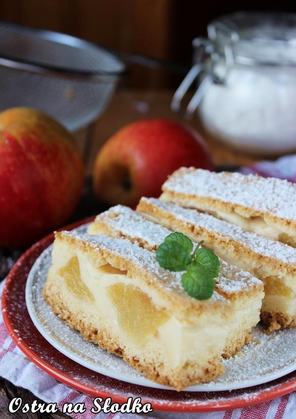 budyniowe z jablkami , szarlotka z budyniem , szarlotka kruchym ciescie , ciasto budyniowe , budyniowe  z owocami , tanie ciasta , latwe ciasta , szybkie ciasto , ostra na slodko xxx