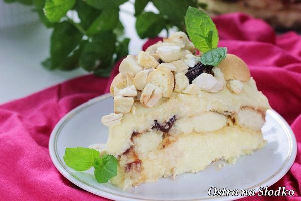 malakoff , tort austriacki , ciasto z kremem budyniowym , krem budyniowy , ciasto budyniowe , ciasto bez pieczenia , budyniowe bez pieczenia , na biszkoptach , ostra na slodko (1)x
