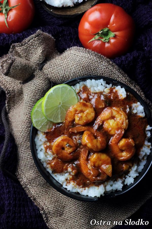 Balchao , INDYJSKIE CURRY Z KREWETEK W POMIDORACH , krewetki w sosie , kuchnia indyjska , curry , indyjskie curry , ryz z krewetkami , ostra na slodko (2)x