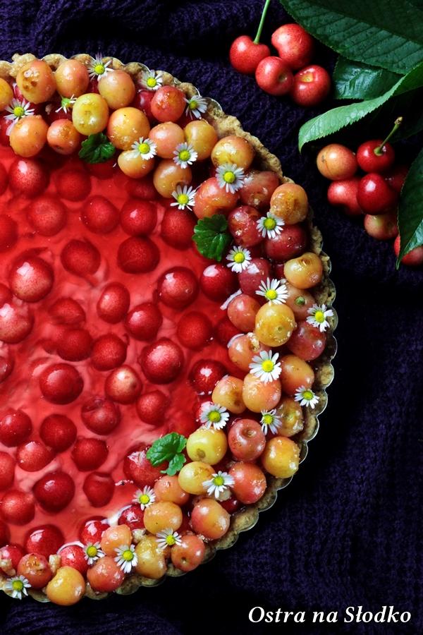 tarta z mascarpone , tarta z owocami , tarta lato , tarta z czeresniami , tarta z galaretka , ostra na slodko , sylwia ladyga (3)x