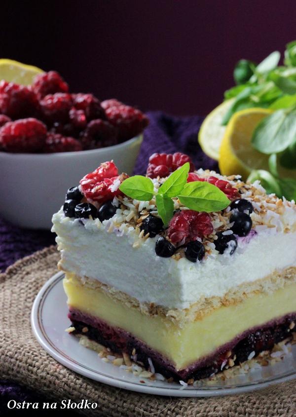 malinowe trio , ciasto z borowkami , ciasto budyniowe , budyniowe bez pieczenia , ciasto z malinami , jagodowe ciasto bez pieczenia , sylwia ladyga , ostra na slodko (3)x