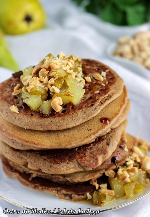 piernikowe pancakes , piernikowe pankejki, karmelizowane gruszki , piernikowe nalesniki, ostra na slodko (5)xx