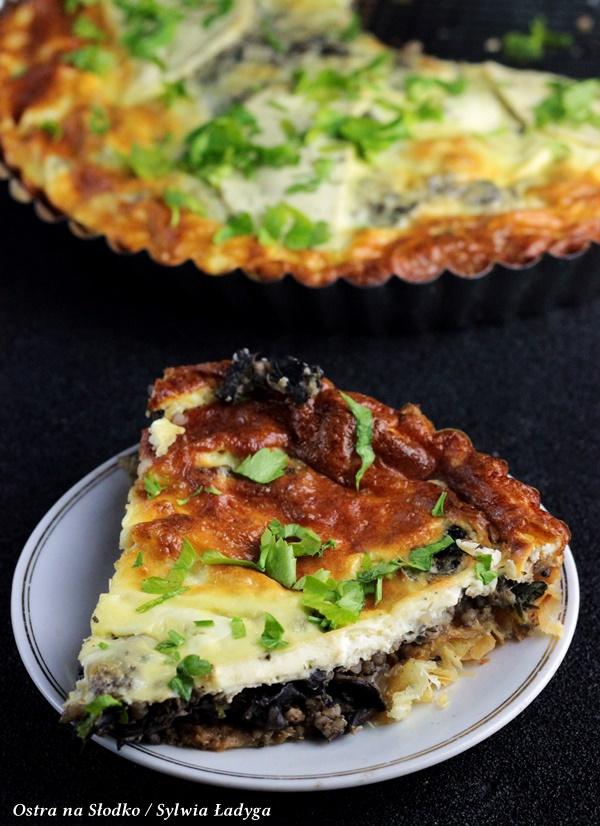 tarta z grzybami , tarta serowa , tarta z ciasta francuskiego, ostra na slodko , sylwia ladyga , pyszna tarta z pieczarkami (6)x