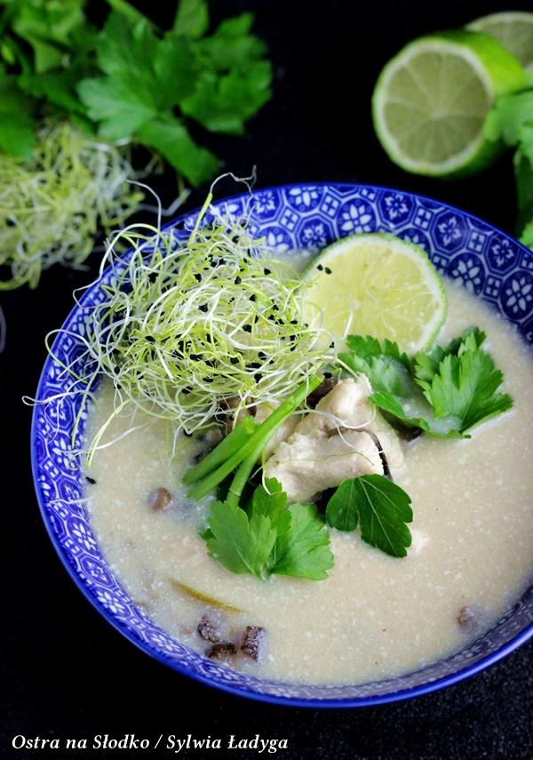 TOM KHA KAI,   tajska zupa kokosowa z kurczakiem, tajska zupa , zupa tajska , tajlandia przepisy , tasjkie przepisy , kuchnia orientalna , orientalne przepisy , zupa z kurczakiem , mleko kokosowe , zupa z mlekiem kokosowym , ostra na slodko , blog kulinarny , sylwia ladyga, pyszna zupa z kurczakiem , rozgrzewajace dania
