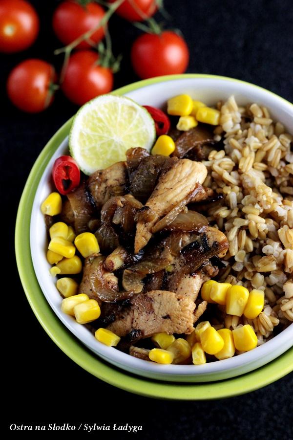 kurczak cebulowy , kasza owsiana , kasza z kurczakiem , kurczak na ostro , ostra na slodko (1)xx