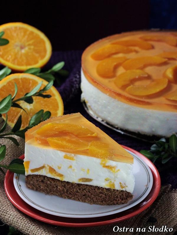 brzoskwiniowiec , sernik z brzoskwiniami, sernik bez pieczenia , sernik na zimno , sernik z galaretka , ciasta bez pieczenia , brzoskwiniowe ciasto , ostra na slodko , blog kulinarny