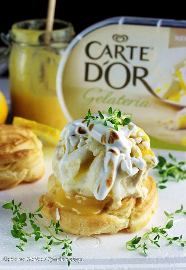 Carte d'or , lemon pie , ptysie z lodami , tarta cytrynowa , ptysie z beza , beza wloska , lody cytrynowe , deser z beza , ostra na slodko , sylwia ladyga (6)x