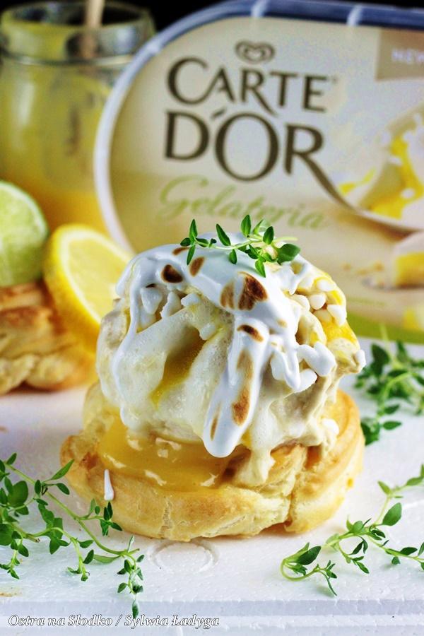 Carte d'or , lemon pie , ptysie z lodami , tarta cytrynowa , ptysie z beza , beza wloska , lody cytrynowe , deser z beza , ostra na slodko , sylwia ladyga (7)x
